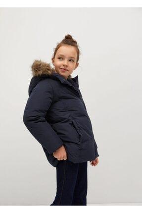 Mango Kız Çocuk Lacivert Kapüşonu Suni Kürklü Kapitoneli Palto 0