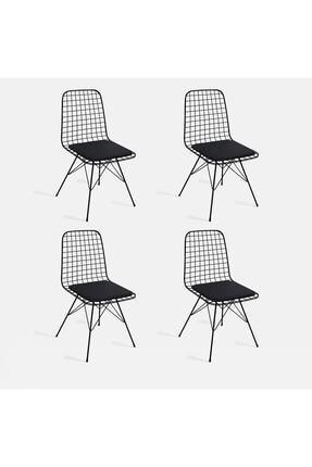 CAN CONCEPT 4Lü Siyah Tel Sandalye Cafe Ofis Balkon Sandalyesi 0