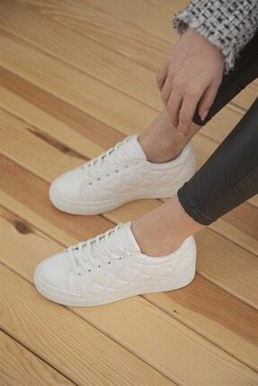 Straswans Kadın Beyaz Kapitone Rugan Spor Ayakkabı 2