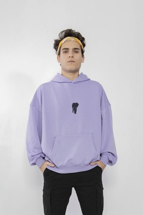 Maken Merry Unisex Özel Tasarım Chaos Lila Oversize Kapüşonlu Sweatshirt 0