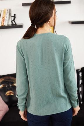 armonika Kadın Turkuaz Yakası Bağlamalı Desenli Gömlek ARM-20K001150 3
