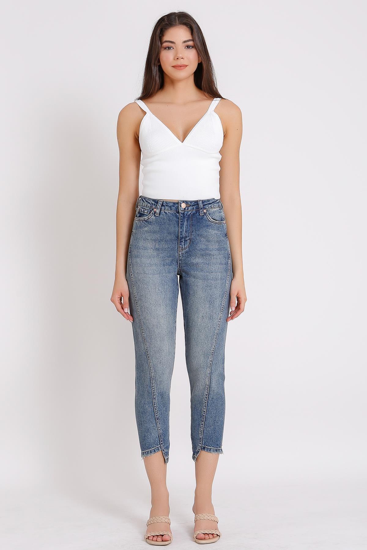 Kadın Mavi Yüksek Bel Kot Denim  Mom Jeans 2084