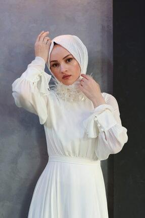 Minel Aşk Ekru Nikah Elbisesi Şalı 1