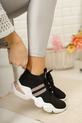 meyra'nın ayakkabıları Kadın Siyah Pudra Triko Sneaker 1