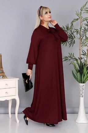 Şirin Butik Kadın Büyük Beden Bordo Renk Kravat Yaka Detaylı Viskon Elbise 1