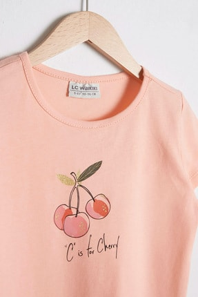 LC Waikiki Kız Çocuk Şeftali G6S T-Shirt 2
