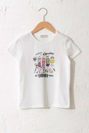LC Waikiki Kız Çocuk Ekru Fdu T-Shirt 0