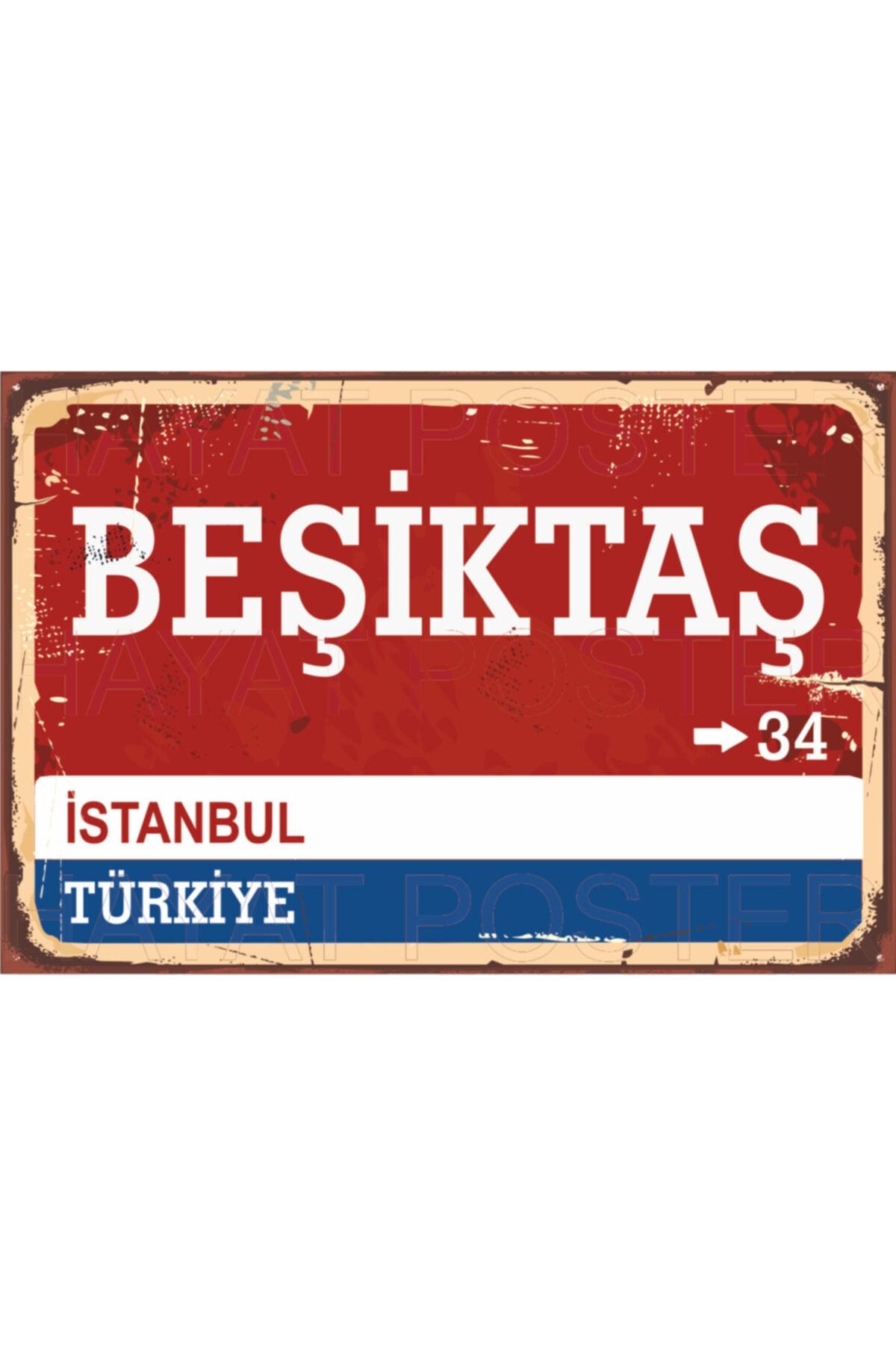 Beşiktaş Yön Sokak Tabelası Retro Vintage Ahşap Poster