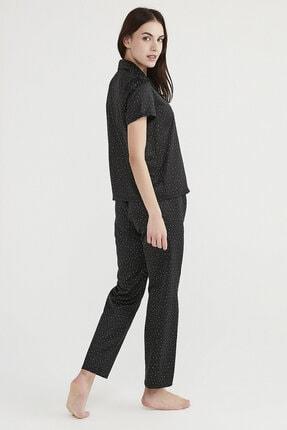 Penti Kadın Siyah Minimal Dark Saten Pijama Takımı 3