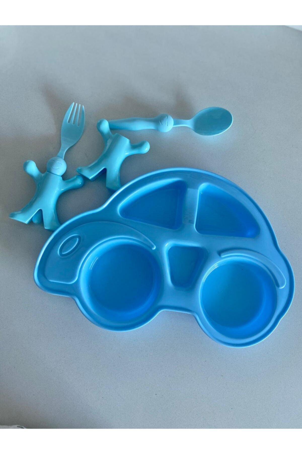 Çocuk Yemek Seti Figürlü Mama Tabağı Çatal Kaşık- Mavi