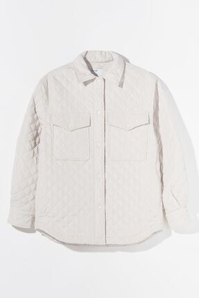 Bershka Kadın Krem Ince Ceket 4