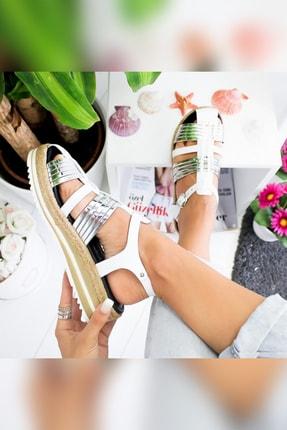 Limoya Tinsley Beyaz Gümüş Kalın Hasır Tabanlı Hakiki Deri Sandalet 2