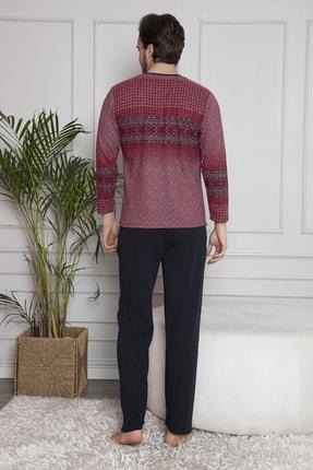 FALKOM Erkek Bordo Uzun Kollu Düğmeli Pijama Takımı 4