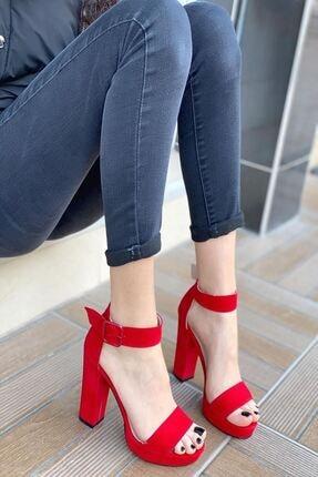 MODAADAM Kadın Margaret Süet Topuklu Ayakkabı Kırmızı 0