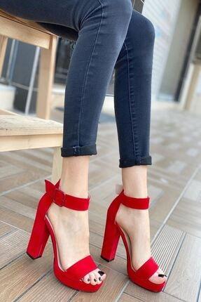 MODAADAM Kadın Margaret Süet Topuklu Ayakkabı Kırmızı 2