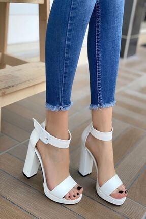 MODAADAM Kadın Margaret Mat Deri Topuklu Ayakkabı Beyaz 0