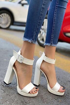 MODAADAM Kadın Margaret Mat Deri Topuklu Ayakkabı Beyaz 1