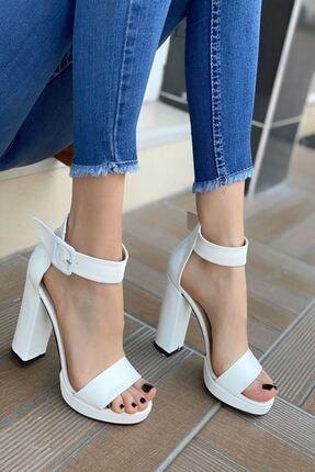 MODAADAM Kadın Margaret Mat Deri Topuklu Ayakkabı Beyaz 2