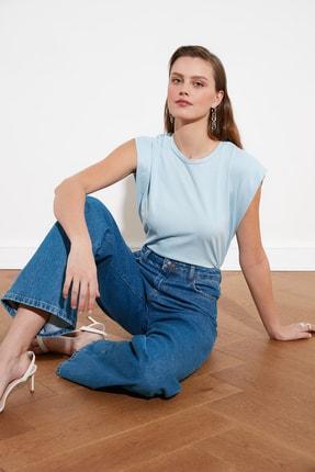 TRENDYOLMİLLA Mavi Kolsuz Basic Örme T-Shirt TWOSS20TS0021 0