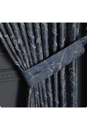 EKİN HOME COLLECTİON Sık Pile Granit Jakar Dokulu Fon Perde Mavi Gri Tek Kanat 1