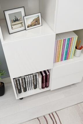 ROSETTE Beyaz Kapaklı Modern Kitaplık 3