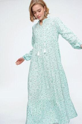 Bigdart Kadın Yeşil Volanlı Elbise 10313 1