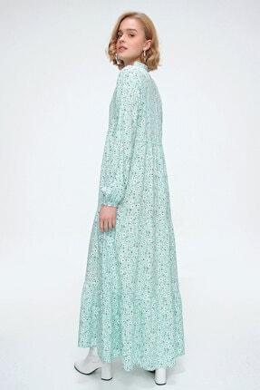Bigdart Kadın Yeşil Volanlı Elbise 10313 3