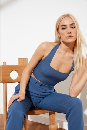 TRENDYOLMİLLA Indigo Basic Bluz TWOSS19WX0088 0