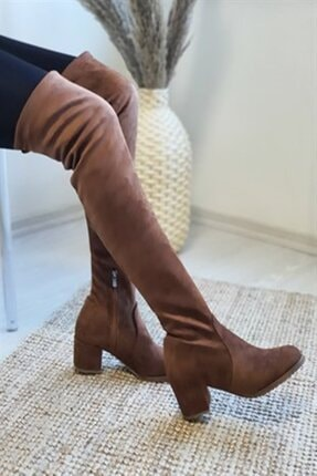 Nil Shoes Taba Süet Serena Streç Bayan Çizme 1