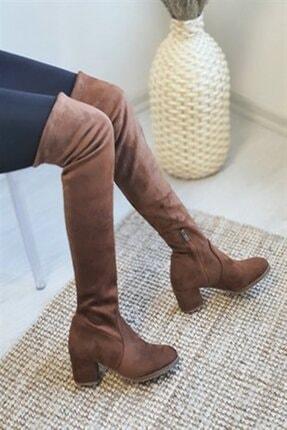 Nil Shoes Taba Süet Serena Streç Bayan Çizme 2