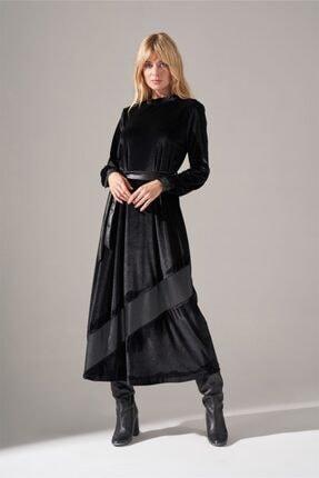 Mizalle Deri Detaylı Kadife Elbise (Siyah) 0