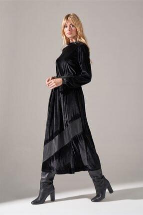 Mizalle Deri Detaylı Kadife Elbise (Siyah) 2