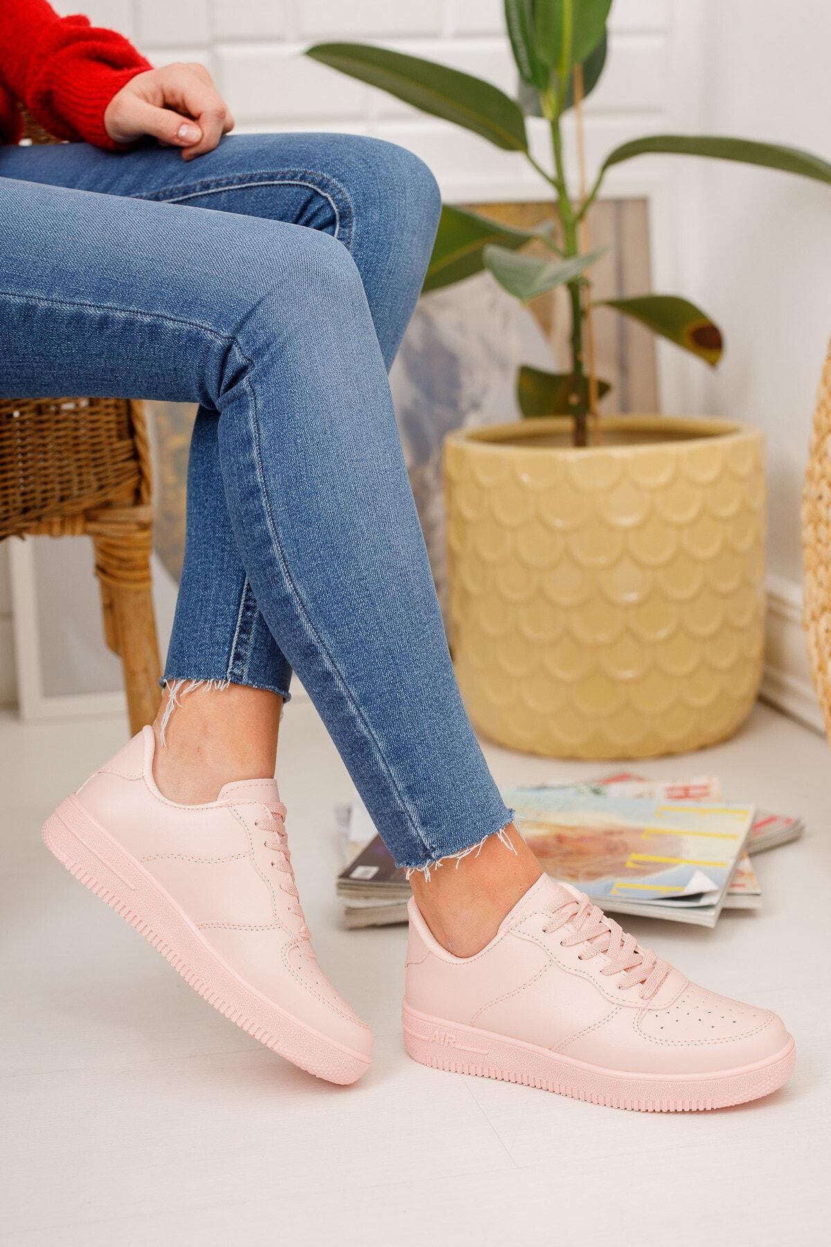 Kadın Pudra Sneaker Ayakkabı