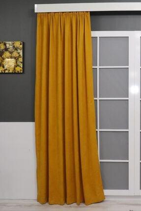 Brillant Sarı Petek Dokulu Fon Perde 150x260 0