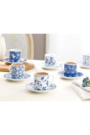 English Home Bella Porselen 6'lı Kahve Fincan Takımı 80 Ml Lacivert 0
