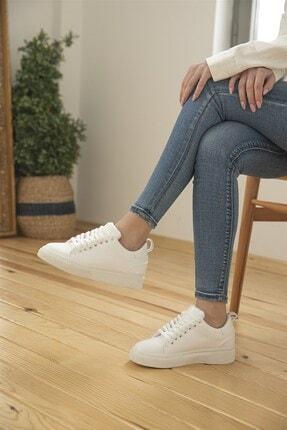 Straswans Kadın Rugan Spor Ayakkabı Beyaz 2