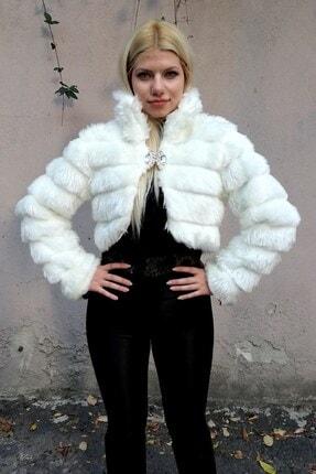 Keyifli Moda Kadın Beyaz Kürk Uzun Kollu Bolero 0