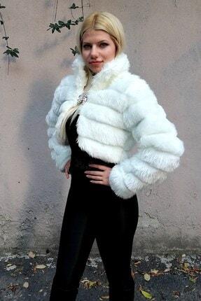 Keyifli Moda Kadın Beyaz Kürk Uzun Kollu Bolero 1