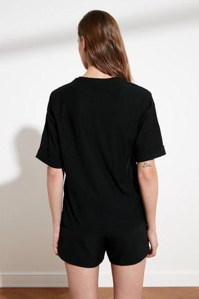 TRENDYOLMİLLA Siyah Baskılı Loose Örme T-Shirt TWOSS21TS0680 4