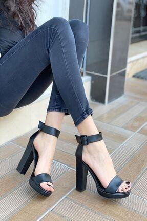 MODAADAM Kadın Margaret Mat Deri Topuklu Ayakkabı Siyah 1