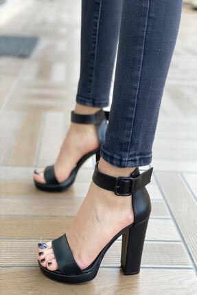 MODAADAM Kadın Margaret Mat Deri Topuklu Ayakkabı Siyah 2