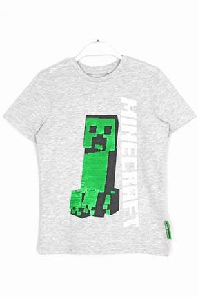 Minecraft Erkek Çocuk Gri Çift Yönlü Pullu T-shirt 0