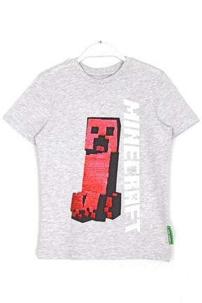 Minecraft Erkek Çocuk Gri Çift Yönlü Pullu T-shirt 1