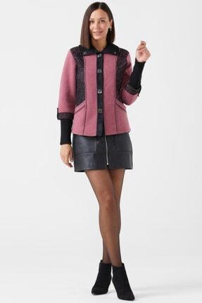 Sementa Kadın Polo Yaka Düğmeli Triko Ceket - Gül - Siyah 4