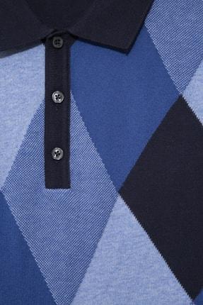 Halifaks Erkek Polo Yaka Baklava Desenli Pamuklu Koyu T-shirt 1