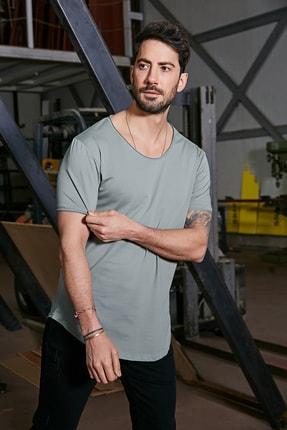 Sateen Men Erkek Açık Haki Kısa Kol Long Kesim Basic T-Shirt 0
