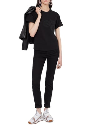 Emporio Armani Kadın Siyah Baskılı Bisiklet Yaka Pamuklu T-shirt 2