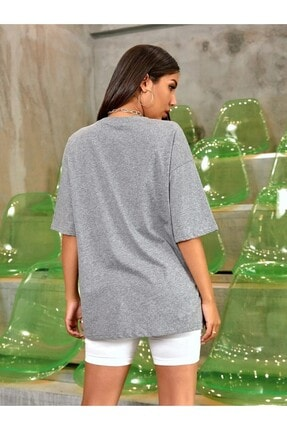 OkeanoX Kadın Gri Oversize Basic Tshirt 1