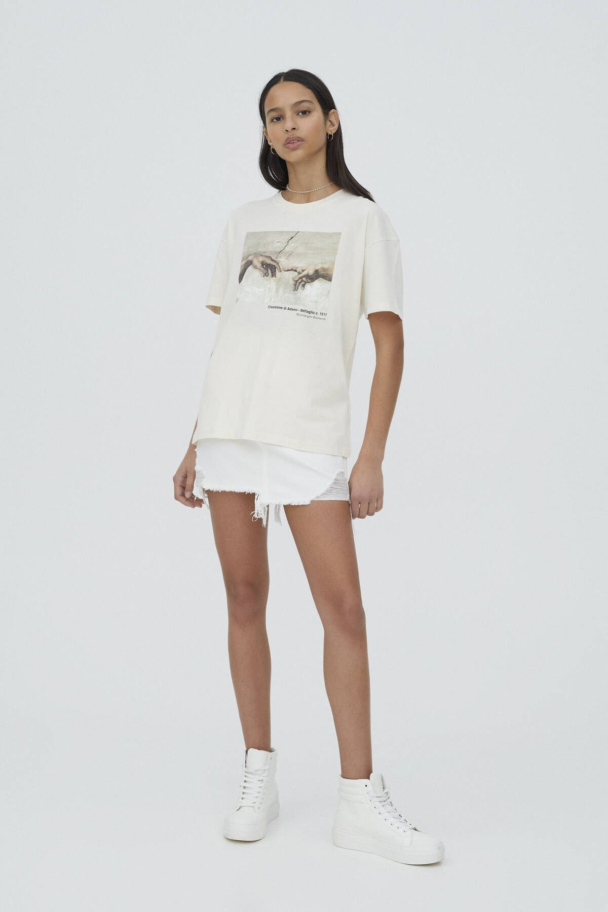 Pull & Bear Kadın Ekru Michelangelo Sistina Şapeli Görselli T-shirt 1