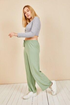 Moda Bu Kadın Mint Beli Lastikli Bol Paça Salaş Yazlık Pantolon Aerobin-865829 2